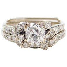 Art Deco 1.41 ctw Cushion Cut Diamond Engagement Ring with Wedding Band 18k White Gold