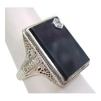 Art Deco 14k White Gold Handmade Onyx and Diamond Ring