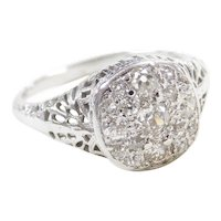 Art Deco 14k White Gold Filigree .56 ctw Diamond Cluster Ring