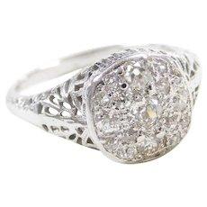 Art Deco 14k White Gold Filigree .56 ctw Diamond Cluster Ring