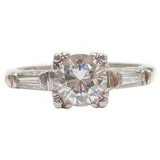 Art Deco Platinum Engagement Ring 1.15 ctw Faux Diamond Center and Genuine Diamond Baguettes