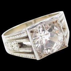 Art Deco 18k White Gold Gents 4.50 Carat White Sapphire Ring