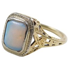 Art Deco 14k Gold Natural Opal Ring ~ Flower and Butterfly Details