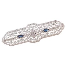 Art Deco 10k White Gold Sapphire and Diamond Filigree Pin / Brooch