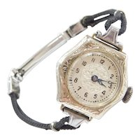 Art Deco 14k White Gold Ladies Wrist Watch with Black Cord Bracelet ~ 6 1/4""