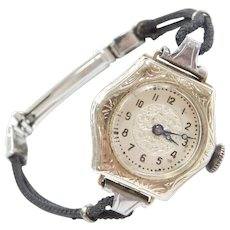 "Art Deco 14k White Gold Ladies Wrist Watch with Black Cord Bracelet ~ 6 1/4"""