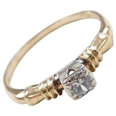 Art Deco 14k Gold .21 Carat White Sapphire Engagement Ring