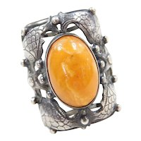 Handmade Danish Sterling Silver Butterscotch Amber Antique Fish Ring