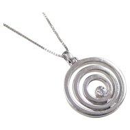 Vintage Sterling Silver Diamond Circle Necklace