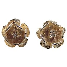 Vintage 14k Gold Diamond Rose Stud Earrings