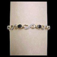 Vintage Gold Vermeil Genuine Diamond and Sapphire Bracelet