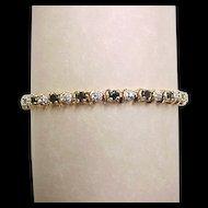 Vintage Gold Vermeil Two-Tone Genuine Sapphire and Diamond Bracelet