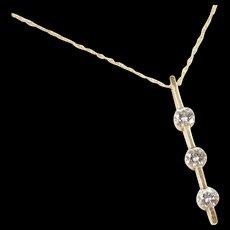 "Vintage 14k Gold .48 ctw Diamond Journey / Bar Necklace 18"""