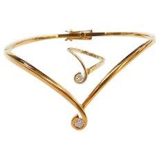 Vintage Diamond Bangle Bracelet & Ring Set 18k .28 ctw, 18K Gold