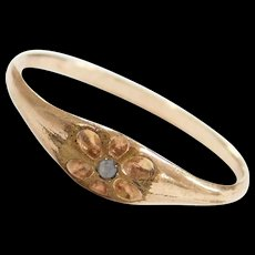 Victorian Diamond Chip Ring ~ Gold Plated / Base Metal