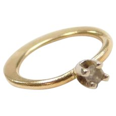 14k Gold Diamond Engagement Ring Charm