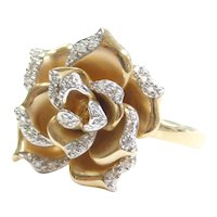 .14 ctw Diamond Flower Ring 14k Gold Two-Tone