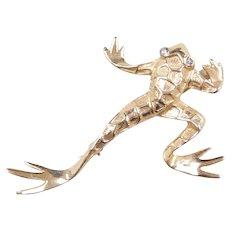Vintage 14k Gold Diamond Frog Pin / Brooch