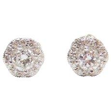 1.08 ctw Diamond Halo Stud Earrings with Milgrain Detail 14k & 18k White Gold