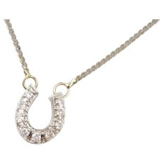 """Vintage 14k White Gold .25 ctw Diamond Horseshoe Necklace ~ 17"""""""