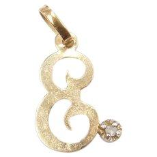 14k Gold Diamond Letter E Charm