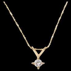 """Vintage 14k Gold .39 Carat Diamond Necklace 18"""""""