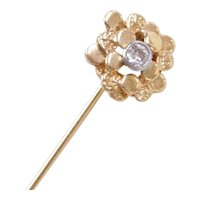 Vintage 14k Gold .10 Carat Diamond Nugget Stick Pin