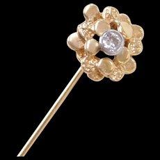 Vintage 14k Gold .10 Carat Diamond Nugget Stick Pin