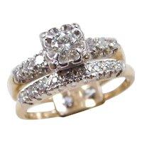 Vintage 14k Gold Two-Tone .39 ctw Diamond Illusion Engagement Ring and Wedding Band Set ~ Circa 1940's