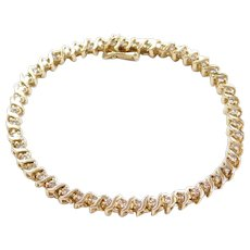 "Vintage 14k Gold 2.20 ctw Diamond S Link Tennis Bracelet ~ 7 1/4"""