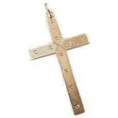 14k Gold Cross Pendant with Polka Dot Design