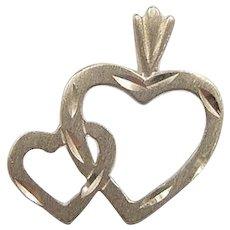 Vintage 14k Gold Double Heart Charm