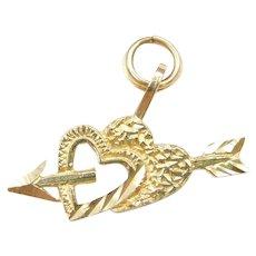 14k Gold Double Heart and Arrow Charm