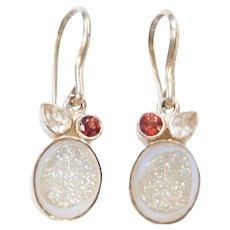Sterling Silver Garnet, Quartz and Druzy Earrings