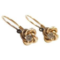 Edwardian 14k Gold .12 ctw Faux Diamond Love Knot Earrings