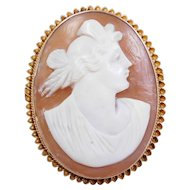 Edwardian 10k Gold Cameo Pin / Brooch / Pendant With Folding Bail