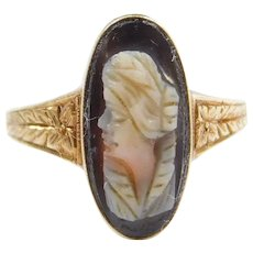 Edwardian Carved Cameo Ring 14k Gold