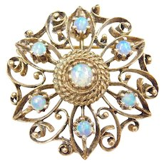 Edwardian 14k Gold Ornate .88 ctw Opal Flower Pendant / Pin