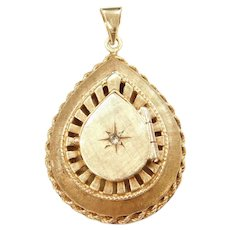 Edwardian 14k Gold Perfume Locket Pendant .03 Carat Diamond Accent