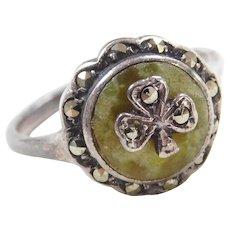 Edwardian Sterling Silver Green Quartz and Marcasite Clover Ring