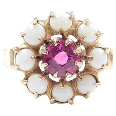 Edwardian 2.05 ctw Syn. Ruby and Natural Opal Halo Ring 14k Yellow Gold