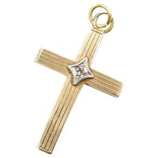 Edwardian 14k Gold Diamond Cross Pendant Two-Tone
