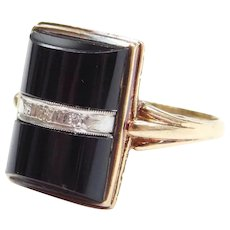 Edwardian Domed Onyx and Diamond Ring 10k Gold and Platinum