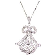 Edwardian Revival .46 ctw Diamond Bow and Heart Pendant on Sparkling Chain 14k & 18k White Gold