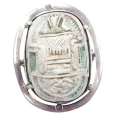 Antique Sterling Silver Carved Steatite Egyptian Scarab Beetle Pin / Brooch