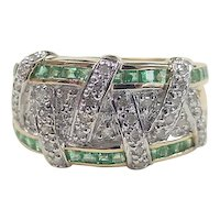 Vintage 14k Gold Two-Tone Emerald and Diamond Crisscross Band Ring