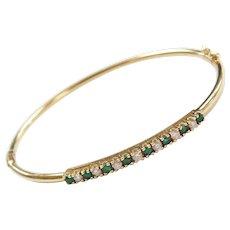 "Vintage 14k Gold .53 ctw Natural Emerald and Diamond Hinged Bangle Bracelet ~ 7"""