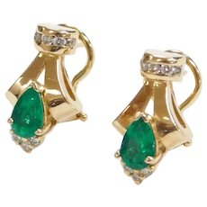 14k Gold 1.60 ctw Natural Emerald and Diamond Earrings ~ Omega Back