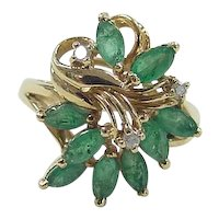 Vintage 14k Gold .93 ctw Emerald and Diamond Cluster Ring