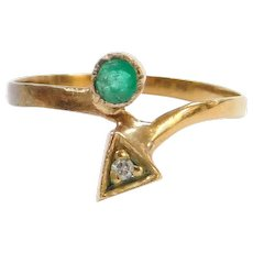 Vintage 18k Gold .14 ctw Natural Emerald and Diamond Bypass Ring